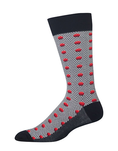 Hot Sox Herringbone Dots Socks-BLACK-10