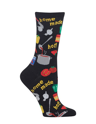 Hot Sox Homemade Chili Crew Socks-BLACK-One Size