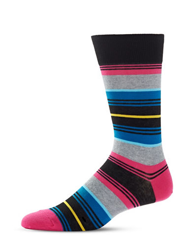 Hot Sox Variegated Multi-Stripe Crew Socks-BLACK-10