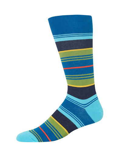 Hot Sox Variegated Multi-Stripe Crew Socks-TEAL-10
