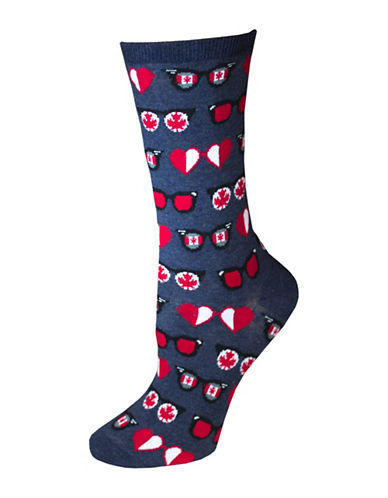 Hot Sox Canadian Glasses Crew Socks-BLUE-One Size