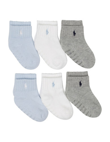 Ralph Lauren Childrenswear Six-Pack Sport Quarter Socks Set-ASSORTED-6-12 Months