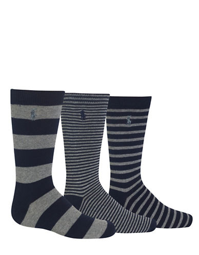 Ralph Lauren Childrenswear Three-Pack Rugby Stripe Fashion Crew Socks Set-BLUE-4-7