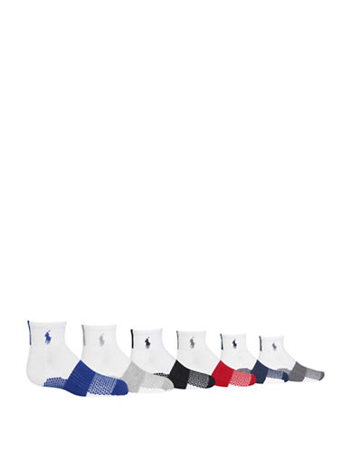 Ralph Lauren Childrenswear Six-Pack Athletic Colourblock Quarter Socks Set-WHITE-4-7