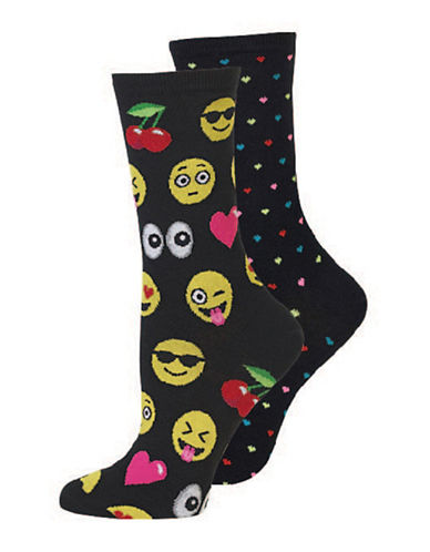 Hot Sox Two-Pack Emoji Crew Socks-BLACK-Medium