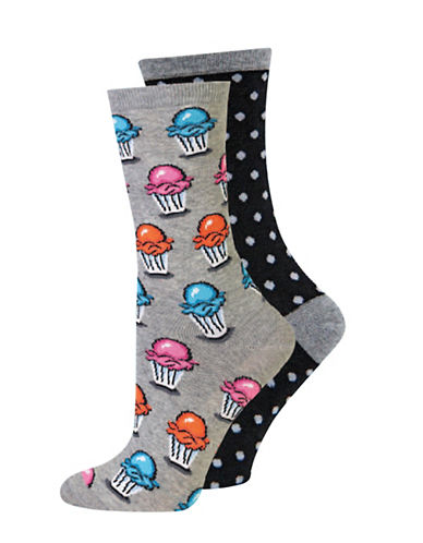Hot Sox Two-Pack Ice Cream Crew Socks-BLACK-Medium