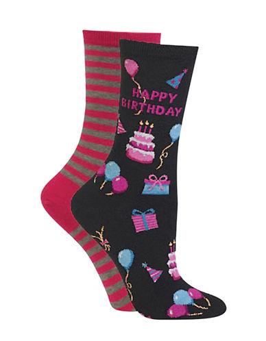 Hot Sox Two-Pack Happy Birthday Crew Socks-BLACK-Medium