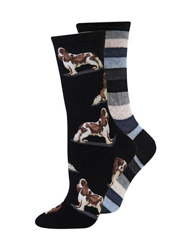 Hot Sox Two-Pack Spaniel Dog Crew Socks-BLACK-Medium