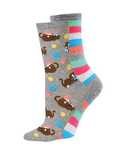 Hot Sox Two-Pack Kitten Crew Socks-GREY-Medium