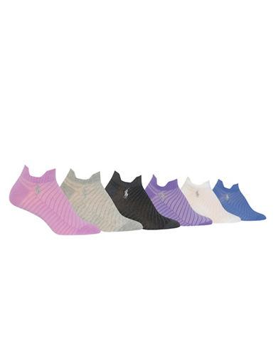 Polo Ralph Lauren Six-Pack Flat Knit Sport Ped Socks Set-ASSORTED-One Size