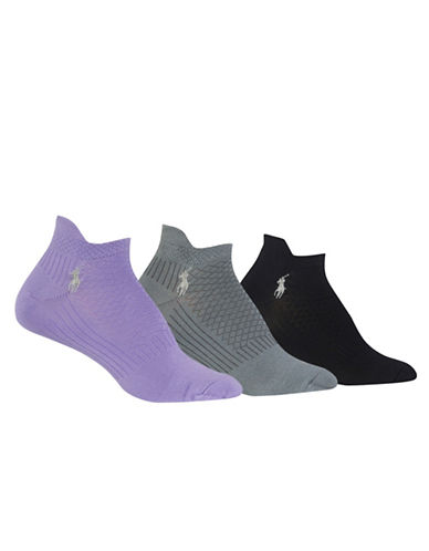 Polo Ralph Lauren Three-Pack Honeycomb Sport Ped Socks Set-ASSORTED-One Size