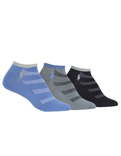Polo Ralph Lauren Three-Pack Contrast Cuff and Diagonal Sport Ped Socks Set-ASSORTED-One Size