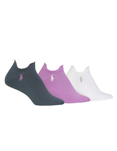 Polo Ralph Lauren Three-Pack Diamond Mesh Sport Ped Socks Set-GREY-One Size