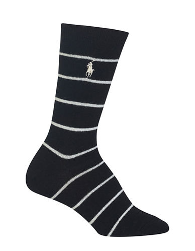 Polo Ralph Lauren St. James Stripe Crew Boot Socks-BLACK-One Size