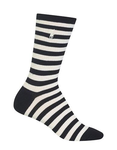 Polo Ralph Lauren Stripe on Rib Crew Trouser Socks-BLACK-One Size