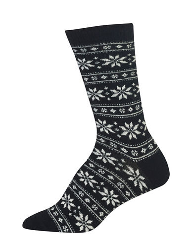 Polo Ralph Lauren Snowflake Stripe Crew Boot Socks-BLACK-One Size