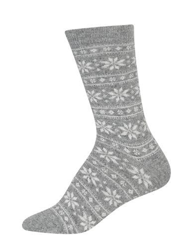Polo Ralph Lauren Snowflake Stripe Crew Boot Socks-GREY-One Size