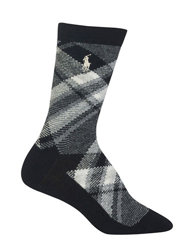 Polo Ralph Lauren Bias Plaid Crew Boot Socks-BLACK-One Size