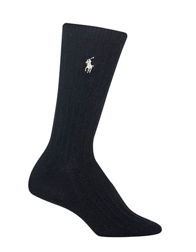 Polo Ralph Lauren Textured Ribbed Crew Socks-BLACK-One Size