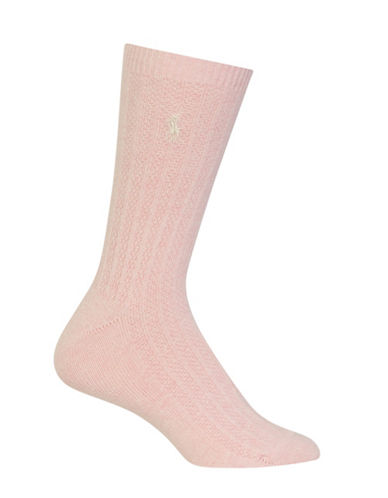 Polo Ralph Lauren Textured Ribbed Crew Socks-PINK-One Size