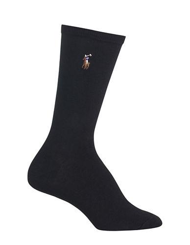 Polo Ralph Lauren Flat Knit Crew Trouser Socks-BLACK-One Size