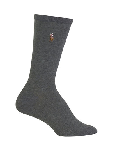 Polo Ralph Lauren Flat Knit Crew Trouser Socks-CHARCOAL-One Size