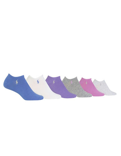 Polo Ralph Lauren Six-Pack Ultra Low Flat Knit Sport Ped Socks Set-ASSORTED-One Size