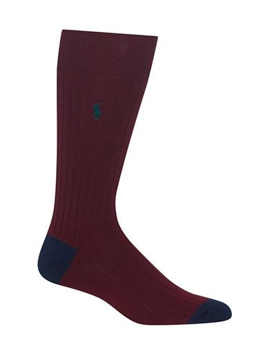 Polo Ralph Lauren Mens Contrast Heel-Toe Crew Socks-PURPLE-10