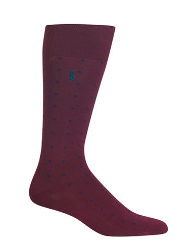 Polo Ralph Lauren Mercerized Dots Dress Socks-PURPLE-10