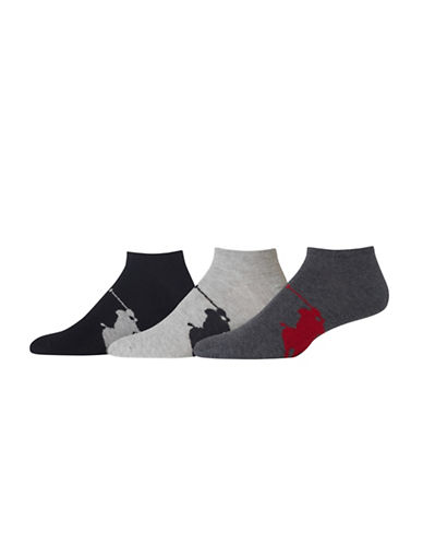 Polo Ralph Lauren Mens 3 Pack Polo Player Ankle Socks-GREY-10-12