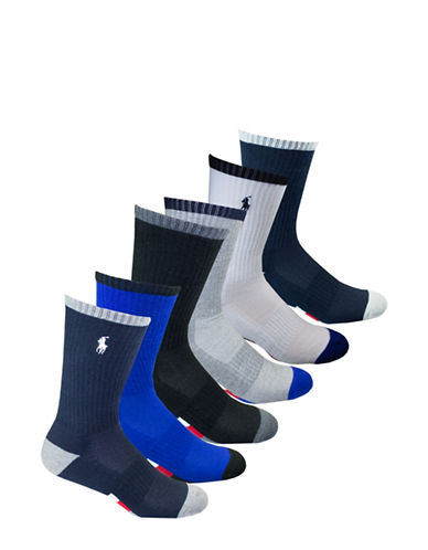 Polo Ralph Lauren Six-Pack Athletic American Crew Socks Set-NAVY-10-12