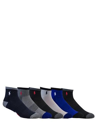 Polo Ralph Lauren Six-Pack Athletic American Quarter-Length Socks Set-NAVY-10-12