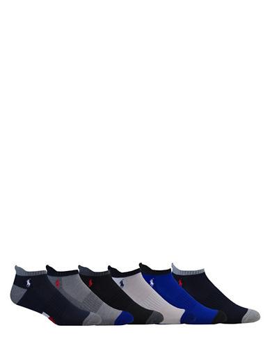 Polo Ralph Lauren Six-Pack Athletic American Low-Cut Socks Set-NAVY-10-12