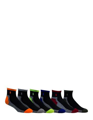 Polo Ralph Lauren Six-Pack Random Feed Quarter-Length Sport Socks Set-GREY-10-12