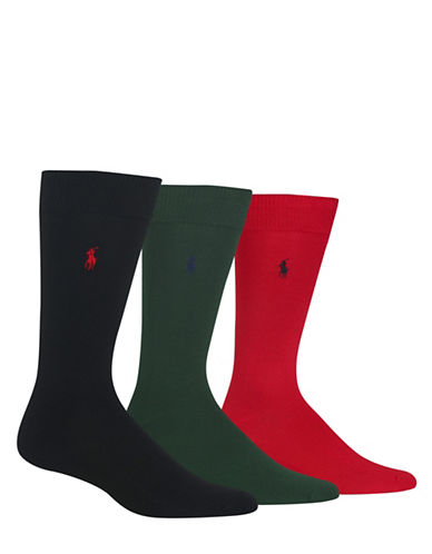 Polo Ralph Lauren Mens Three-Pack Dress Crew Socks-BLACK-10