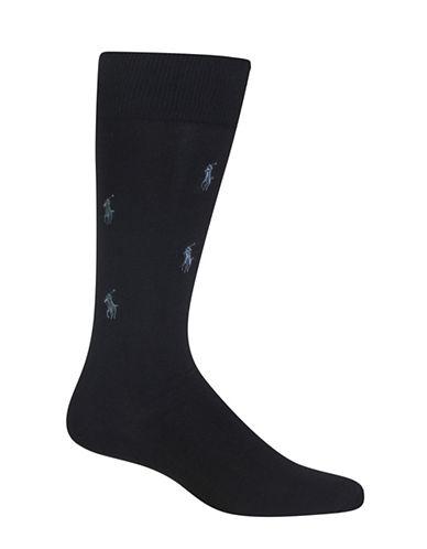 Polo Ralph Lauren Allover Monotone Dress Socks-BLACK-10