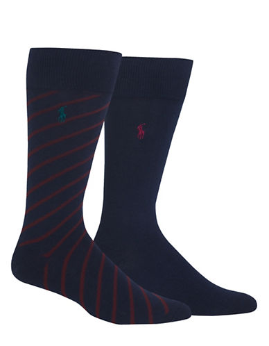 Polo Ralph Lauren Two-Pack Diagonal Stripe Sport Socks-NAVY-10