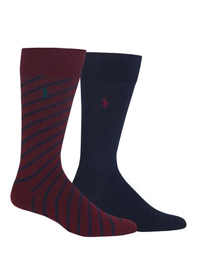 Polo Ralph Lauren Two-Pack Diagonal Stripe Sport Socks-PURPLE-10