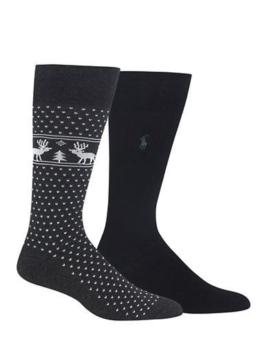 Polo Ralph Lauren Two-Pair Reindeer Dress Socks-GREY-10