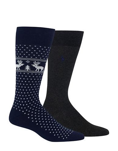 Polo Ralph Lauren Two-Pair Reindeer Dress Socks-NAVY-10