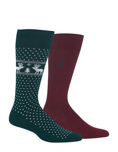 Polo Ralph Lauren Two-Pair Reindeer Dress Socks-MULTI-10