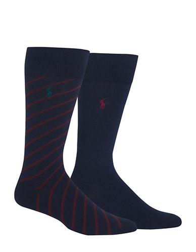 Polo Ralph Lauren Two-Pack Houndstooth Sport Socks-NAVY-10