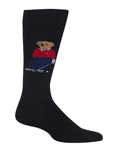 Polo Ralph Lauren Golfing Bear Dress Socks-BLACK-10