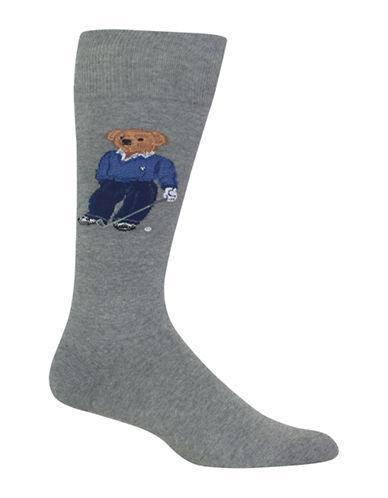 Polo Ralph Lauren Golfing Bear Dress Socks-GREY-10