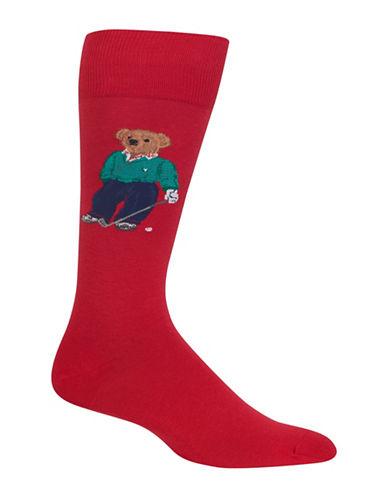 Polo Ralph Lauren Golfing Bear Dress Socks-RED-10