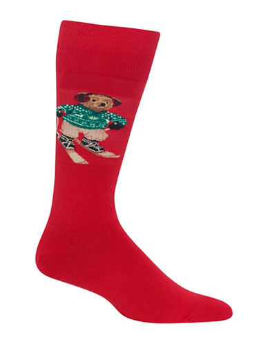 Polo Ralph Lauren Skiing Bear Dress Socks-RED-10
