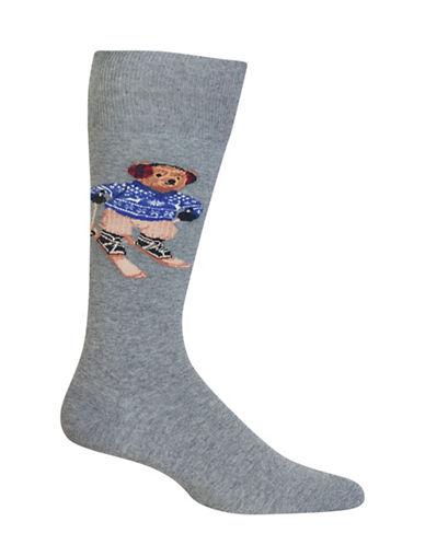 Polo Ralph Lauren Skiing Bear Dress Socks-GREY-10