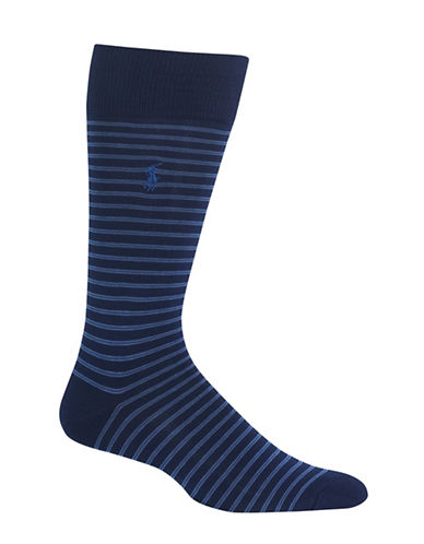 Polo Ralph Lauren Skinny Stripe Dress Socks-NAVY-10