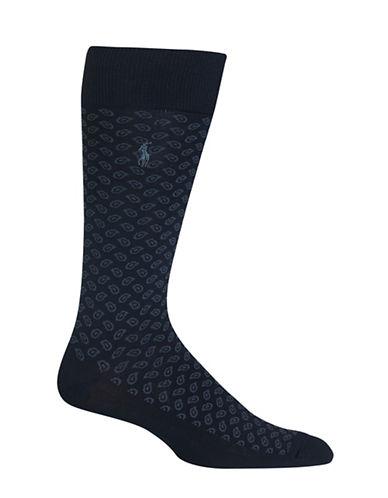Polo Ralph Lauren Paisley Dress Socks-BLACK-10