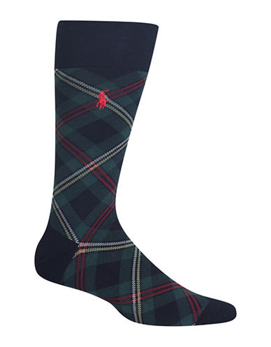 Polo Ralph Lauren Tartan Dress Socks-NAVY-10